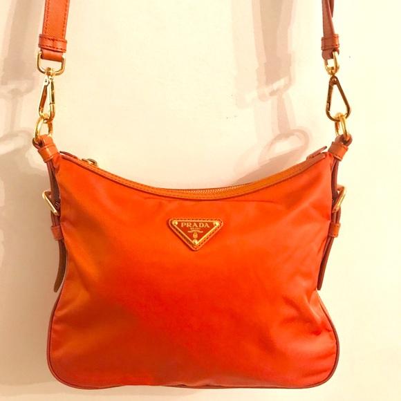 934eec322a Prada Tessuto Saffian Papaya Crossbody Bag BT0706